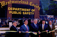 John Murtha at the ribbon cutting for the Westmoreland County Department of Public Safety. c. 2000.