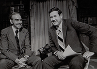 John Murtha with Speaker of the House Jim Wright on Murtha's TV show, Capitol Commentary. 1979.