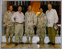 John Murtha visiting armed forces during a trip to Iraq, 2005.