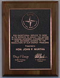Plaque awarded to John Murtha from the National Energy Resources Organization (NERO), undated.