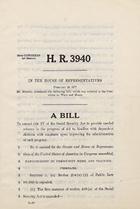 A copy of H.R. 3940, a bill to reform Social Security programs for families with dependent children. It was introduced by John Murtha in 1977.