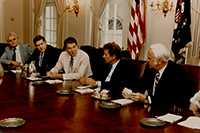 John Murtha with President Ronald Reagan and others signing legislation. c. 1980s.