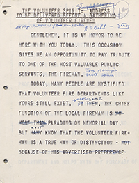 Speech notes from John Murtha's speech to volunteer firemen. 1974.