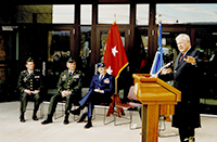 John Murtha speaking at the ribbon cutting for the Army National Guard Armory in Mt. Pleasant. 1999.